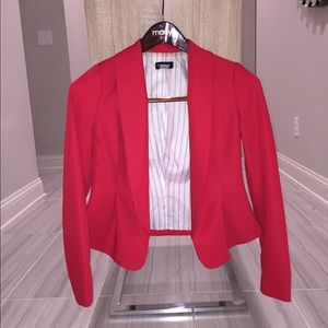Bebe red draped blazer